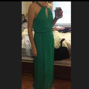 Green pleated flowy maxi dress